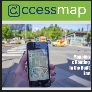 AccessMap Logo with a view of the app on a mobile phone held by a persons left hand.