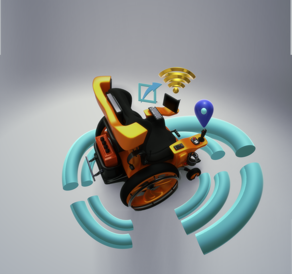 The smart and connected wheelchair. The image3D model of a power wheelchair with iconography of a wireless wave surrounding it. On the right arm support is an icon of GPS location, on the left arm support are icons of wireless emissions from an on-board tablet and icon of messaging sending out from the chair.