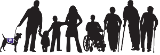 Taskar Center Logo showing black and white silhouettes of diverse individuals